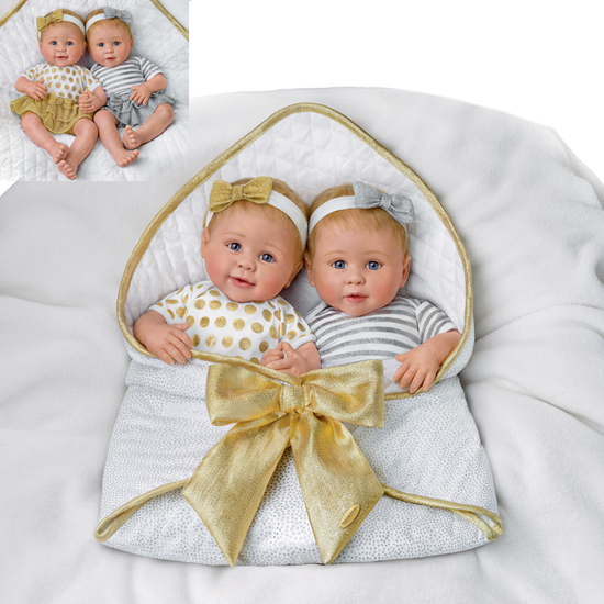 """Picture of """"Silver & Gold"""" - Soft Silicone Twins - Cloth Body - New in 2019"""